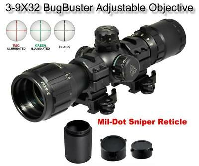 Leapers UTG 3-9x32 CQB Bug Buster Rifle Scope Rings & Sunshade Quick Detach Mt