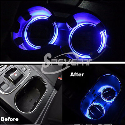2x Car Solar Cup Holder Waterproof Bottom Pad LED Interior Light Atmosphere Lamp