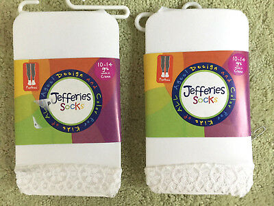 LOT OF 2 PAIRS:  jefferies socks WHITE footless tights with lace trim 10-14 yrs
