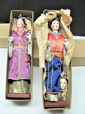 Vintage Lot Japanese Chinese Kimono Dolls Hand Made Dress Hand Painted Face