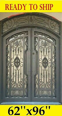 Wrought Iron Entry Doors With Tempered Glass 62''x96'' Dgda1027