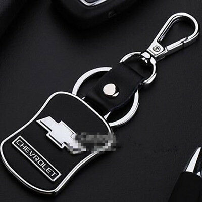 Car Keyring Key Ring Chevrolet Real leather Stainless Steel Badge Emblem
