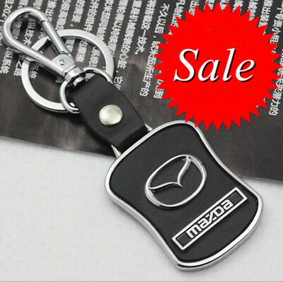 Car Keyring Key Ring Mazda Real leather Stainless Steel Badge Emblem