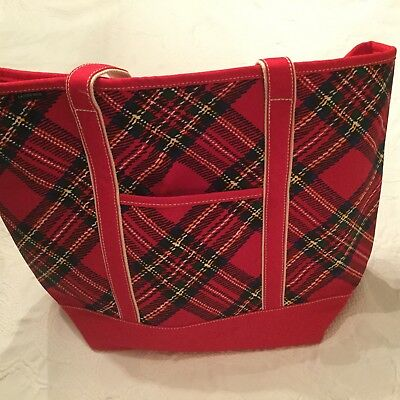 Lands End Large Zip-Top Red Christmas Plaid Tote Bag BUY ONE or TWO!