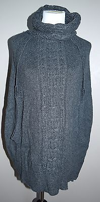 MATERNITY Gap XS Charcoal Gray Alpaca Cabled Wool Blend Poncho Sweater Fall MD1