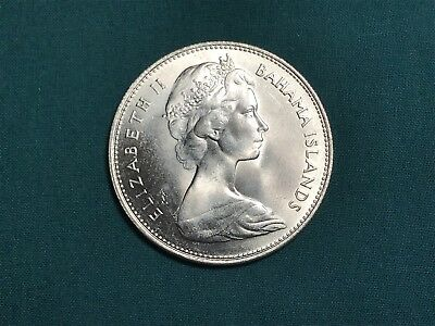 1966 Bahamas Islands $1 One Dollar 80% Silver Coin High Grade Uncirculated