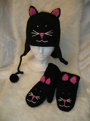delux Black Stitch face CAT HAT & MITTENS MATCHING SET knit ADULT costume LINED