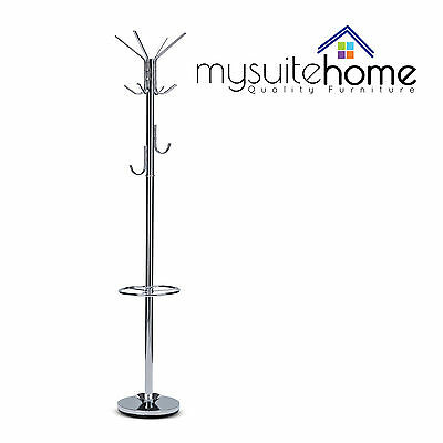 Bailey Metal Chrome Finish Coat Rack/Hat Hanger Stand with Metal Hooks