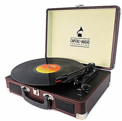 Capital Briefcase Record Player Suitcase Vinyl Turntable USB 3W Speakers - brown