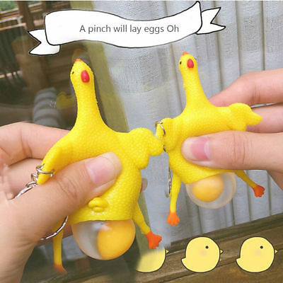 Chicken & Eggs Key Chain Ornaments Funny Squishy Squeeze Toys Stress Relieve New