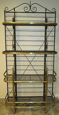 French Bakers Rack Wrought Iron With Brass Trim Four Shelves