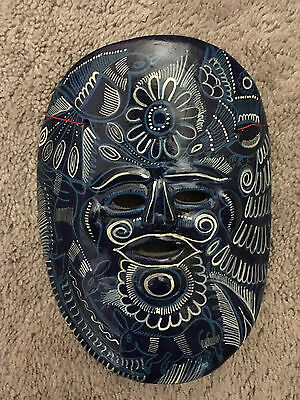 HAND-PAINTED CERAMIC MEXICAN HANGING MASK_MODERN FOLK ART_6.5 x 8 INCHES