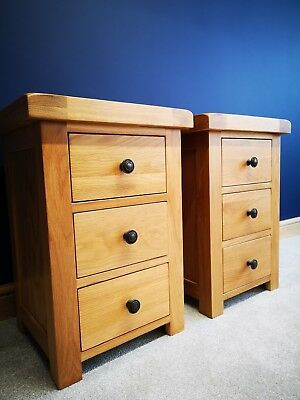 Matching Pair Oak Large Bedside Tables - Rustic Bedroom Drawers - Side Cabinets