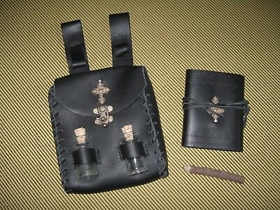 Vampire Hunter's Companion Leather Pouch, Journal, Pencil, Glass Vials, No Stake