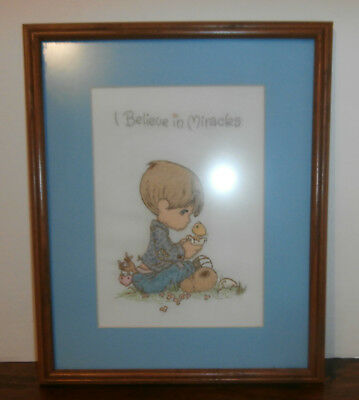 "I Believe in Miracles Finished Framed Embroidery 12"" x 15"" Precious Moments"