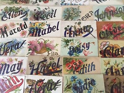Nice Lot of 25 Antique Large Letter Names Vintage Greetings Postcards-k-89