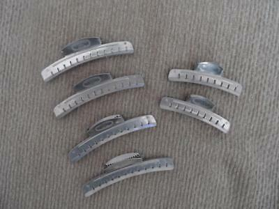 Vintage Lot of Six (6) Tip-Top Metal Hair Clips 4 Large 2 Small
