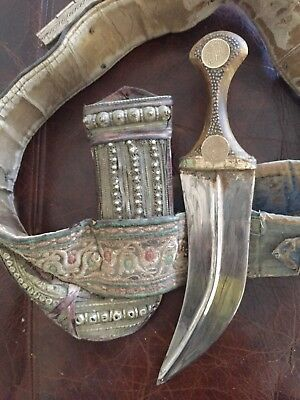 LOWERED. Antique Yemen Jambiya Horn Curved Dagger,  Belt & camel hide Sheath