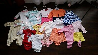 19 Piece Lot 0-3 Months Girls Clothes [Carter's, Koala Baby, Fisher Price] EUC