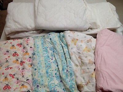 Crib Fitted Sheet Mattress Pad Cover Flannel Lot 7 Toddler Baby Girl Bedding