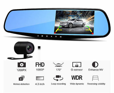 Car Camera Video Recorder Dual Lens DVR Dash Cam 1080P Rearview Mirror Black Box