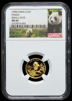 1998 China 10 Yuan Small Date Gold Panda Coin NGC/NCS MS69  Conserved!!