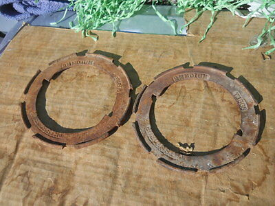 Pair ANTIQUE Farm Tractor Implement SEED Corn PLANTER PLATES Steampunk Art