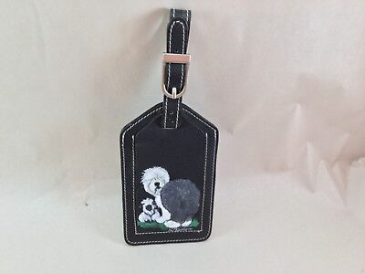 hand painted Old English Sheepdog black leather luggage tag