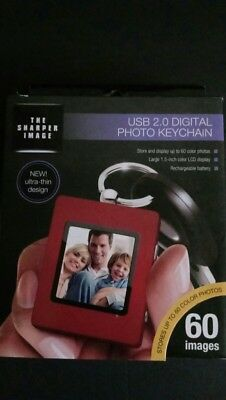 New Sharper Image Silver Tone Usb 2.0 Lcd Digital Photo Keychain 60 Photos