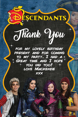 Personalised Disney Descendants Birthday Party Thank You Cards Envelope DEC3TY