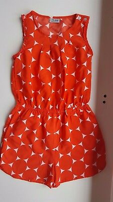 NEXT girls 9 years orange red polyester play suit jumpsuit sleeveless & shorts