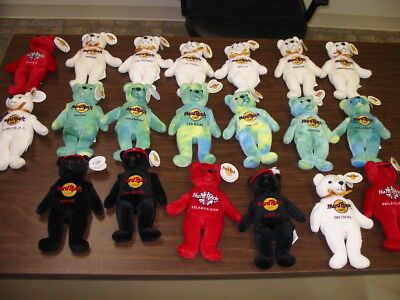 Lot of 20 Hard Rock Cafe Bears Different Cities Beanie Bear Style ALL w Tags
