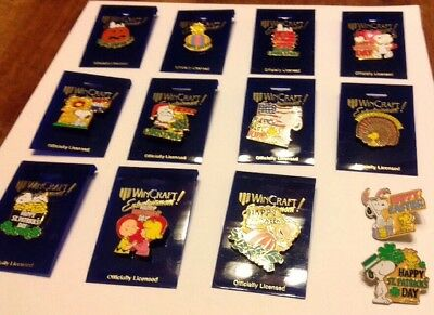 Vintage Peanuts Snoopy Christmas Wincraft Metal Pin Lot Of 14 ! New Thanksgiving