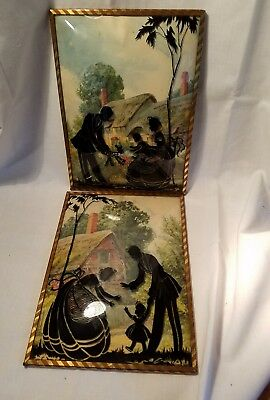 Pair of Vintage Reverse Silhouette Paintings on Bubble Glass, 1930, Family. (11)