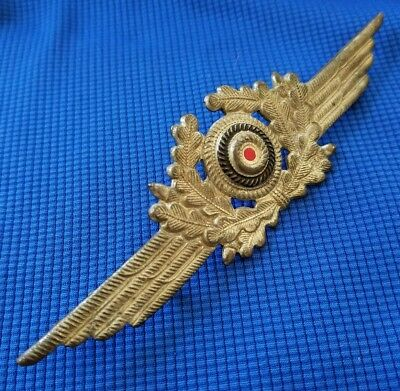 Original Wwii German Luftwaffe Air Force Hat Badge- Excellent Condition