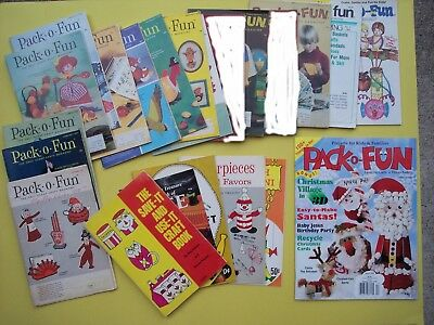 Pack O Fun Scrap Craft Magazine Book VTG Lot 1964 1973 1974 1995 Fun w Macaroni