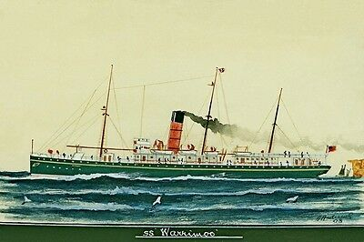 WARRIMOO of the Union SS Co of New Zealand Art Modern Digital Postcard