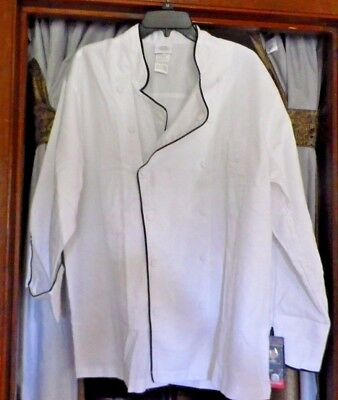 Dickies Unisex CHEF Double Breasted Executive White Coat Black Trim DC42B Sz L