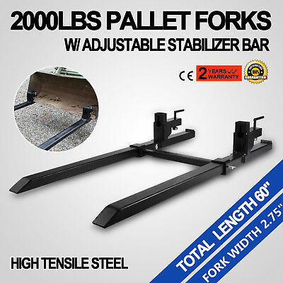 """43"""" Clamp on Pallet Forks w/ Stabilizer Bar 2000lb Heavy duty Bucket Tractor"""
