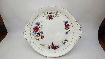 """Royal Albert Poppy Flowers of The Month Series 10 1/2"""" Cake Plate - August"""
