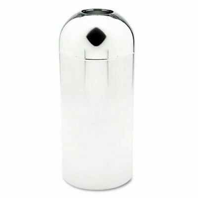 Safco Reflections Top Dome 15 Gallon Receptacle, Round, Steel, Chrome (SAF9875)