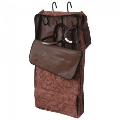 Heavy Nylon Bridle/ Halter Bag Tooled Brown Leather Print with Rack