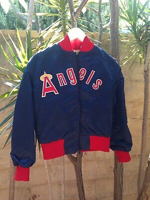 Vintage 80's Mac Murray Satin Anaheim Angels Baseball Jacket Spell Out VTG L USA