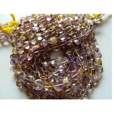 5 Strands Ametrine Coin Beads Ametrine Stone Button Beads 8mm 13 Inches Each