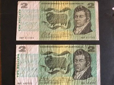1972 Aust. Two dollar banknote. Phillips/Wheeler (one only.)