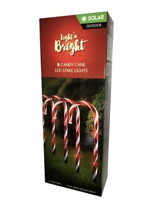 8 Candy Cane LED Stake Lights *SOLAR*
