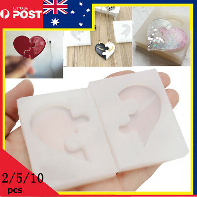 5/10x DIY Jewelry Beading Casting Mold Silicone Clear Resin Crystal Square Heart