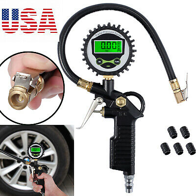 LCD Electric Digital 200PSI Tire Pressure Gauge Tire Inflator Gauge+5Valve Caps