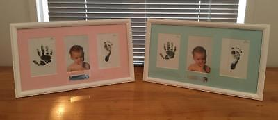 Newborn Baby Triple Photo Frame - Can Display Photo & Babies Feet & Hand Prints