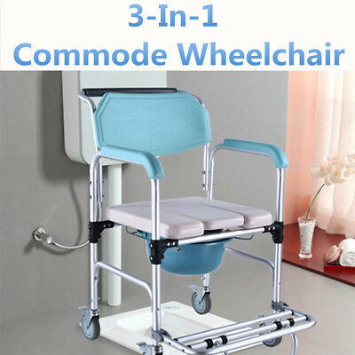 3-in-1 Rolling Chair Wheelchair Commode Bedside Toilet & Shower Seat Bathroom